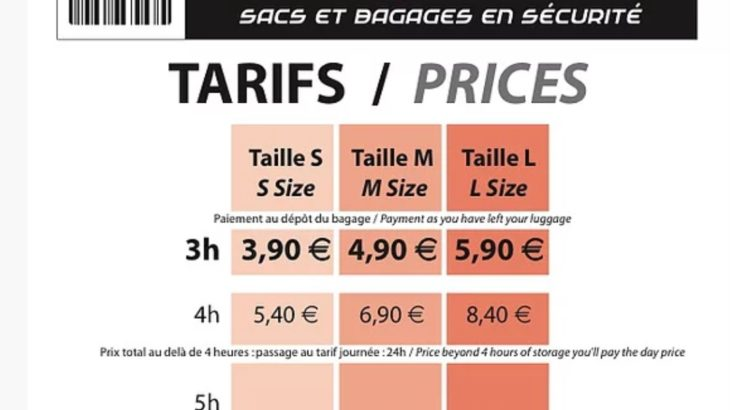 エクサンプロバンスコインロッカーの価格表