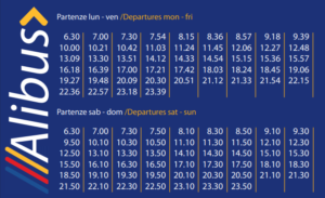 alibus timetable from the airport