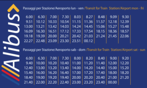 alibus timetable to the airport