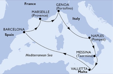 '19年西地中海人気1位のクルーズを分析・自己手配('20はMSCグランディオーザ号)