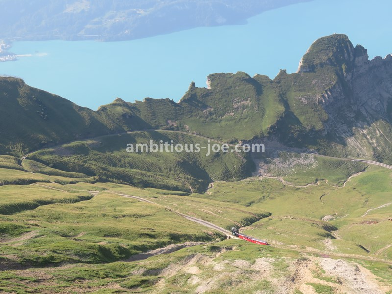 rothorn view of hiking course and the train