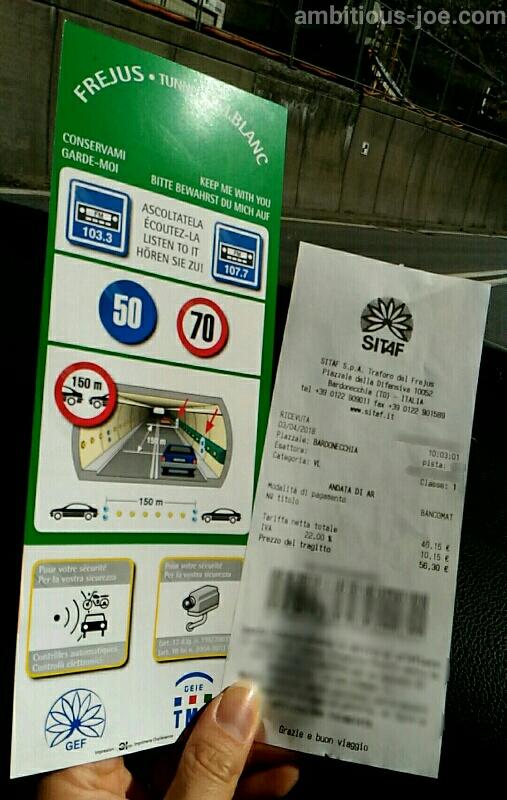 フレユストンネルの通行料領収書と走行時注意事項