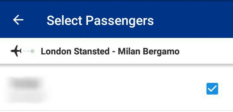 ライアンエアーチェックイン画面「乗客選択」