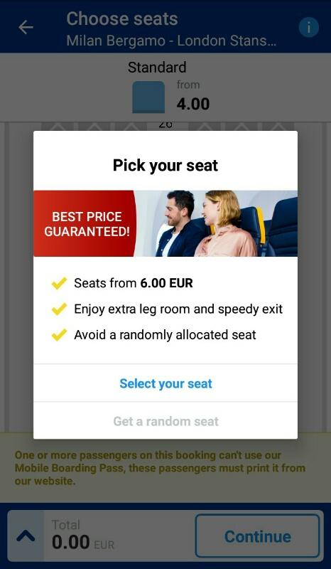 ライアンエアーチェックイン画面「座席選択オプション」
