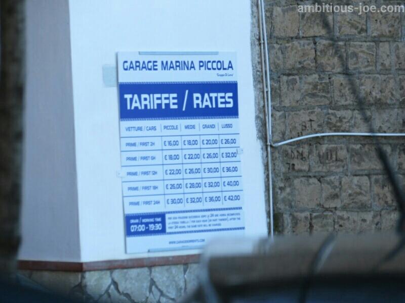 ソレント港目の前の駐車場の値段表