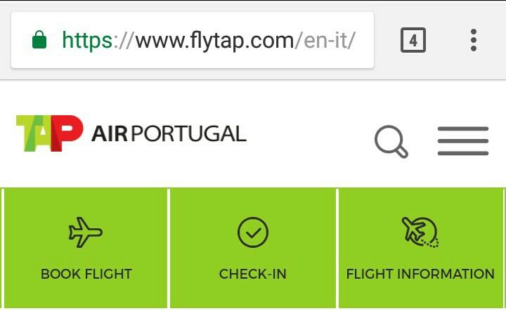 TAPポルトガル航空ホームページ