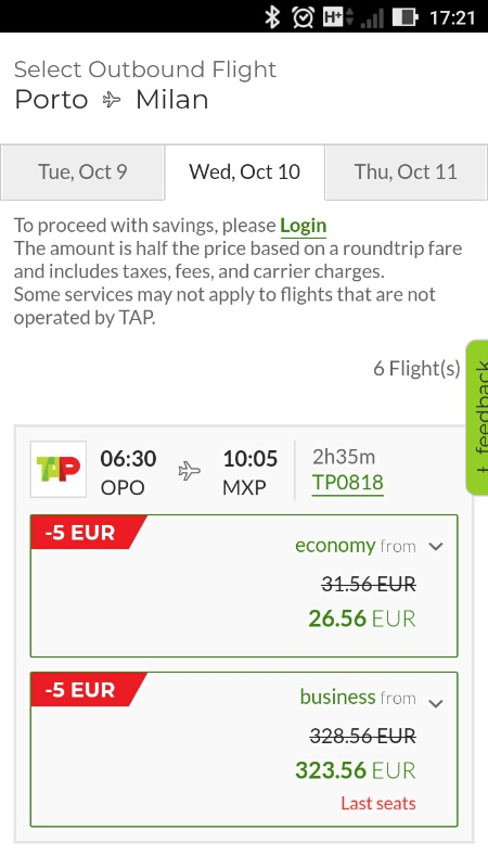 TAPポルトガル航空フライト検索結果