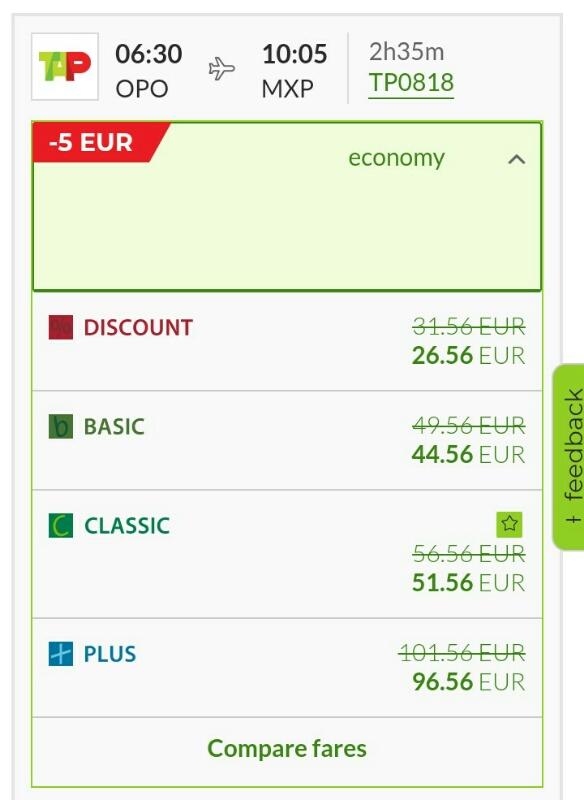 TAPポルトガル航空値段クラス