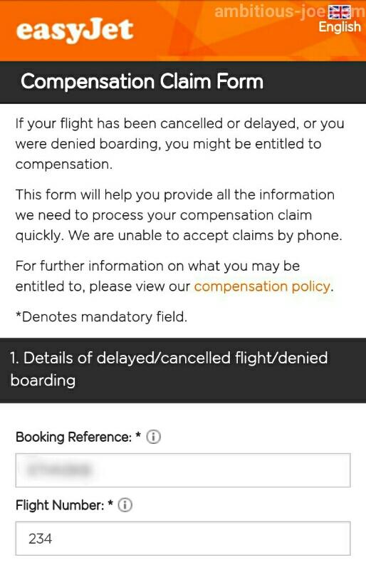 easyJet-EU261 claim form