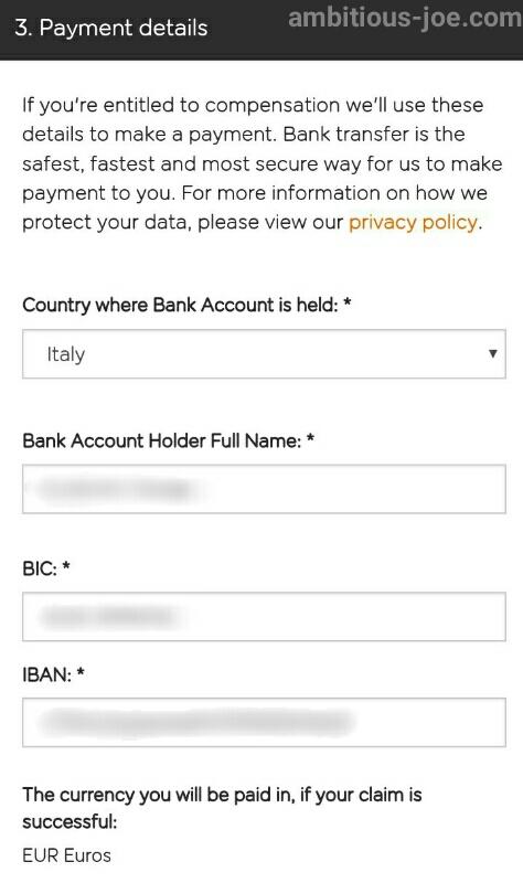 easyJet-EU261 bank info