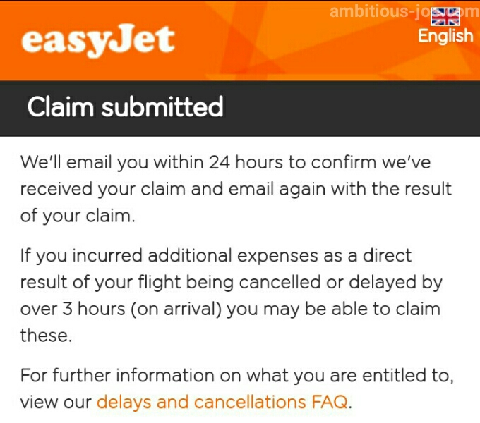 easyJet-EU261 claim submitted