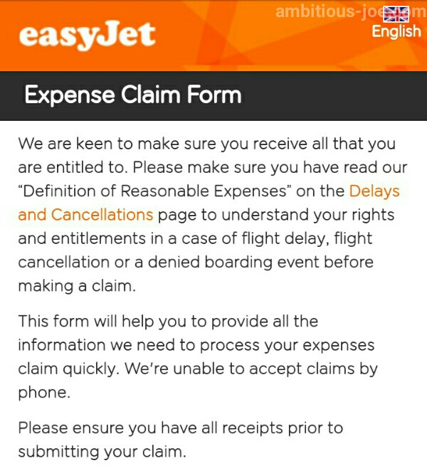 easyJet-expense claim form